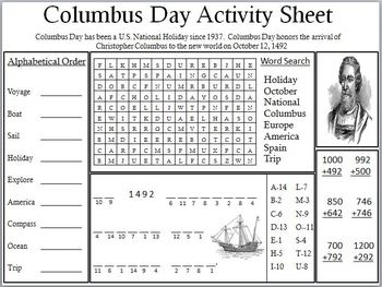 columbus day activity sheet by empowered by them  tpt
