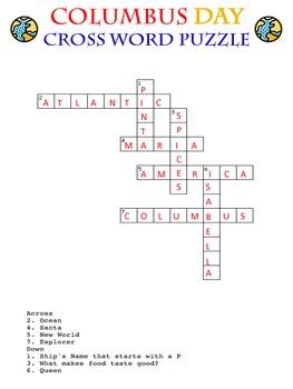 Columbus Day BINGO, Word Search, Cross Word