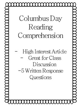 Columbus Day Cancelled, Reading Comprehension, Close Reading