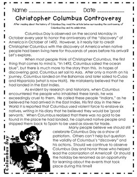 Columbus Day Close Reading and Informational Text and Activities!