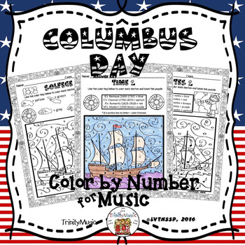 Columbus Day Color By Symbol (Music)