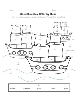 Columbus Day Color by Sum