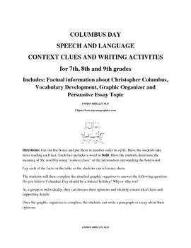 Columbus Day Context Clues and Writing Activity