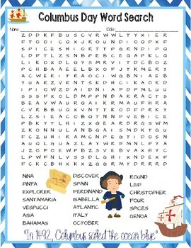 Columbus Day Crossword and Word Search Find Activities