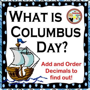 Columbus Day Decimals - Adding and Ordering Decimals