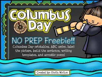 Columbus Day FREE No Prep Printables by Sheila Melton TpT