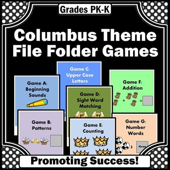 Columbus Day Activities Math and Literacy File Folder Games Special Education