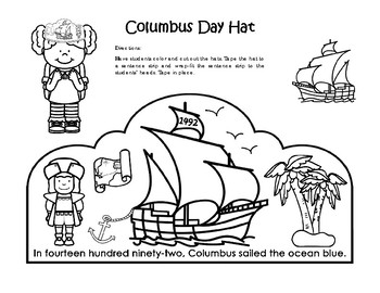 Columbus Day Hat -  Craftivity - Kindergarten to 2nd Grade