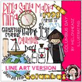 Columbus Day clip art - LINE ART- by Melonheadz