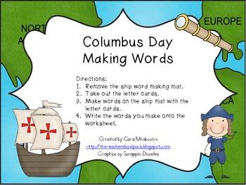 Columbus Day Making Words