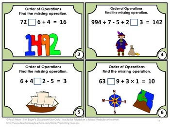 Order of Operations Task Cards Columbus Day Activities & Games