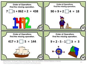 Order of Operations Task Cards No Exponents Columbus Day Activity