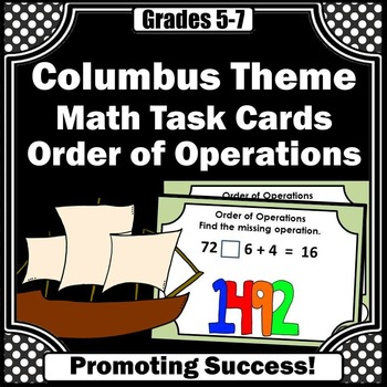 Columbus Day Activities, Order of Operations Task Cards & Games