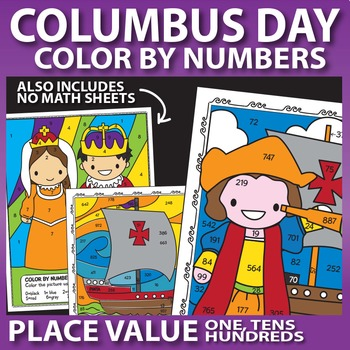 columbus day math worksheets color by number place value by prime  columbus day math worksheets color by number place value