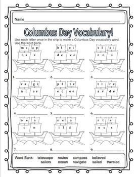 Columbus Day  Math Literacy Packet! Printables! Centers!