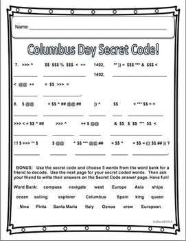 Back to School Christopher Columbus Math Literacy Packet! Printables! Centers!