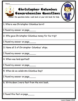 Columbus Day-Christopher Columbus Mini Book and Comprehension Questions
