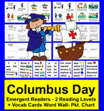 Columbus Day Activities: Emergent Readers - 2 Reading Levels + Word Wall w/Pics