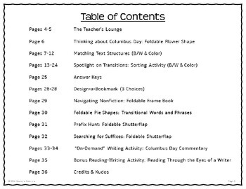Columbus Day Nonfiction Literacy Printables Grades 3-5