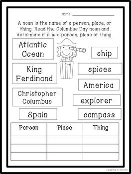 Columbus Day Nouns Worksheet