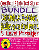 Columbus Day October Halloween &More 49pgs Close Read 8 InfoTxt 5 level passages