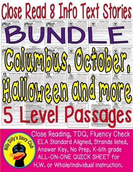 Columbus Day October Halloween &More 49pgs Close Read 8 In