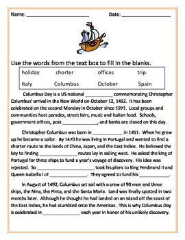 Columbus Day Packet (8 pages)
