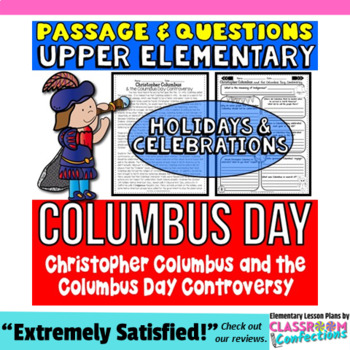 Columbus Day: Passage and Questions: Reading Comprehension Activity
