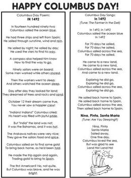 Columbus Day Poem and Songs