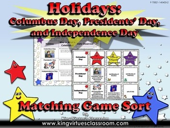 Columbus Day, Presidents' Day and Independence Day Matching Game Sort - Holidays