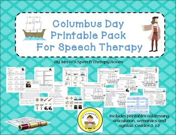 Columbus Day Speech Therapy Printable Pack