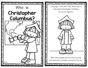 Columbus Day Reader for First Grade and Kindergarten Social Studies