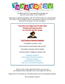 Columbus Day Reading Comprehension for 3rd, 4th & 5th Grades