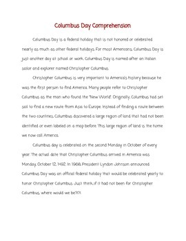 Columbus Day Reading Unit