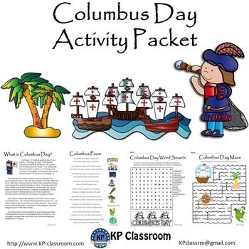 Columbus Day Reading Writing Drawing Activity Packet and Worksheets