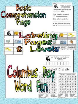 Columbus Day Reading and Writing Unit for Kindergarten or First Grade