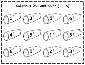 Columbus Day Roll and Color {FREEBIE}