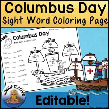 Columbus Day Sight Word Activity Sheet  *Editable*