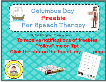Columbus Day Speech Therapy Freebie