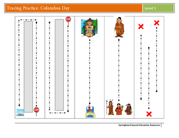 Columbus Day Tracing Practice-Level 1