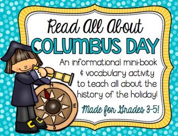 Columbus Day Vocabulary Mini Book for BIG KIDS