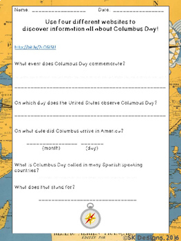 Columbus Day WebQuest - Engaging Internet Activity