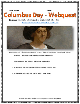 Columbus Day - Webquest with Key (Christopher Columbus and Columbus Day History)