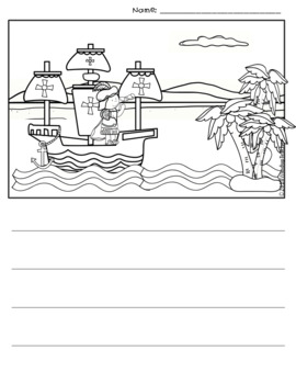 Columbus Day Word Bank and Writing Paper Pack