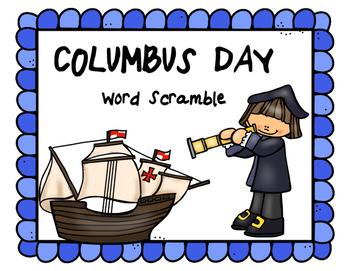 Columbus Day Word Scramble