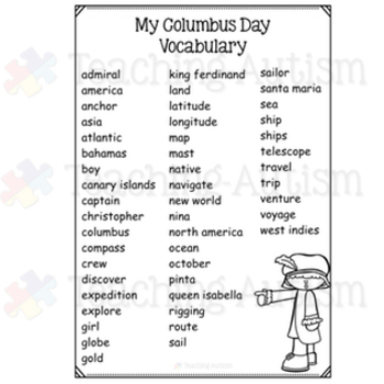 Columbus Day Word Search Worksheets