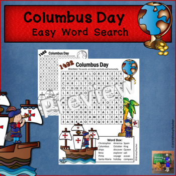 Columbus Day Word Search *Easy