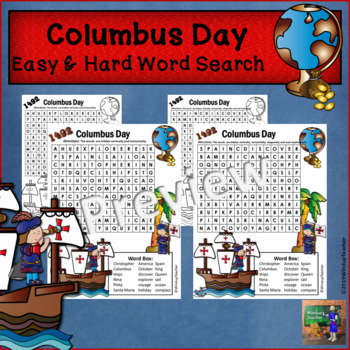 Columbus Day Word Search - Easy and Hard BUNDLE