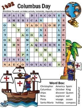 Columbus Day Word Search *Hard