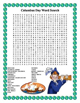 Columbus Day Word Search- Harder 25 Words